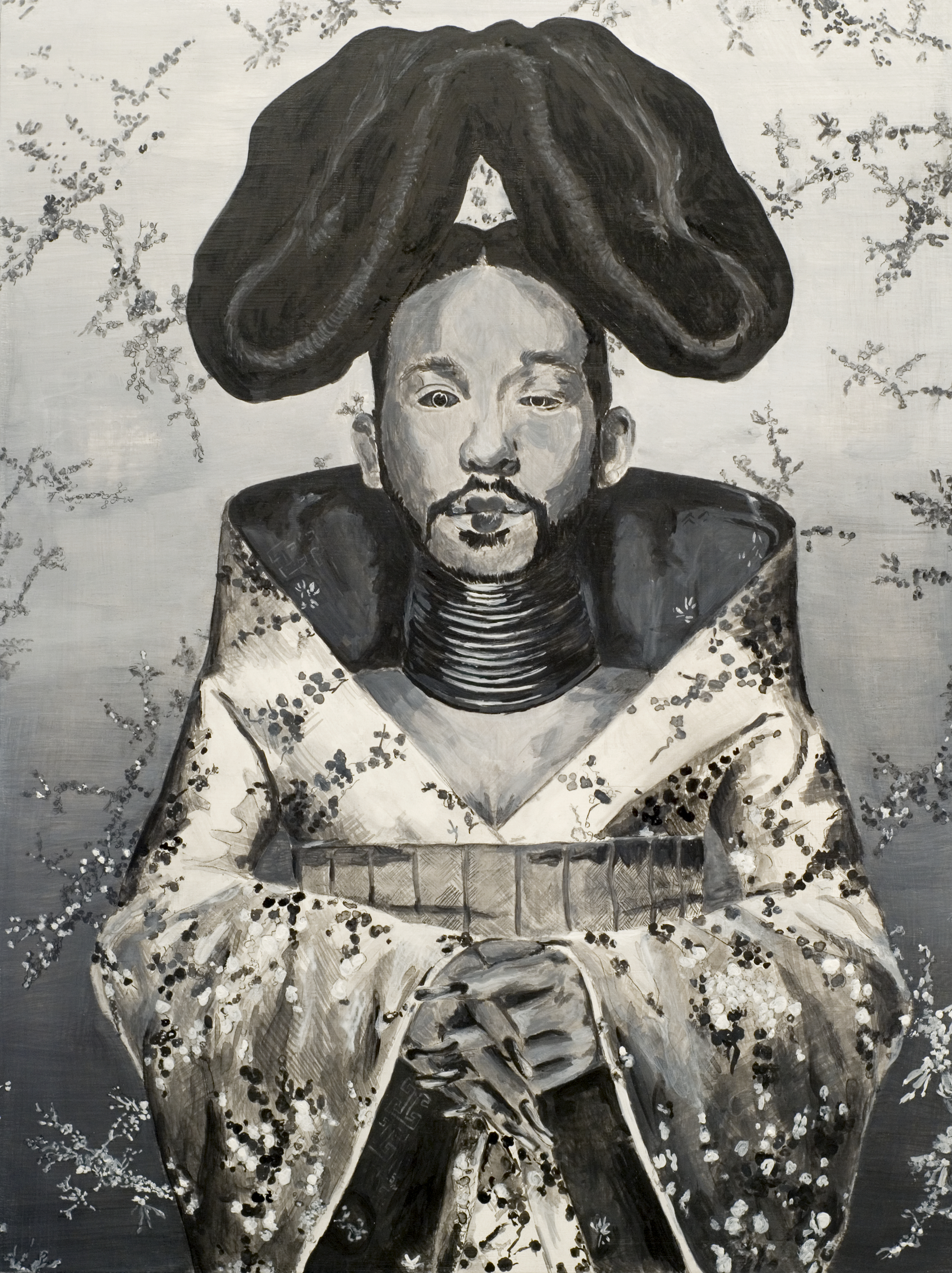 """Self-portrait as Björk's Homogenic (grisaille)"""