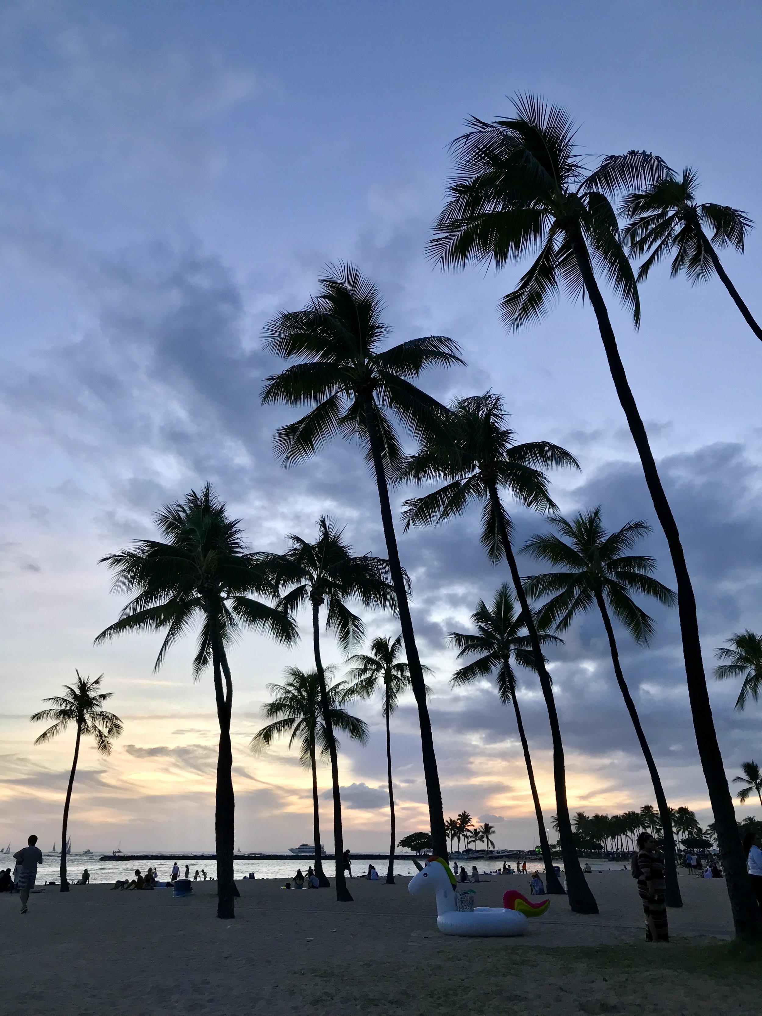 Sunset at Waikiki Beach Honolulu