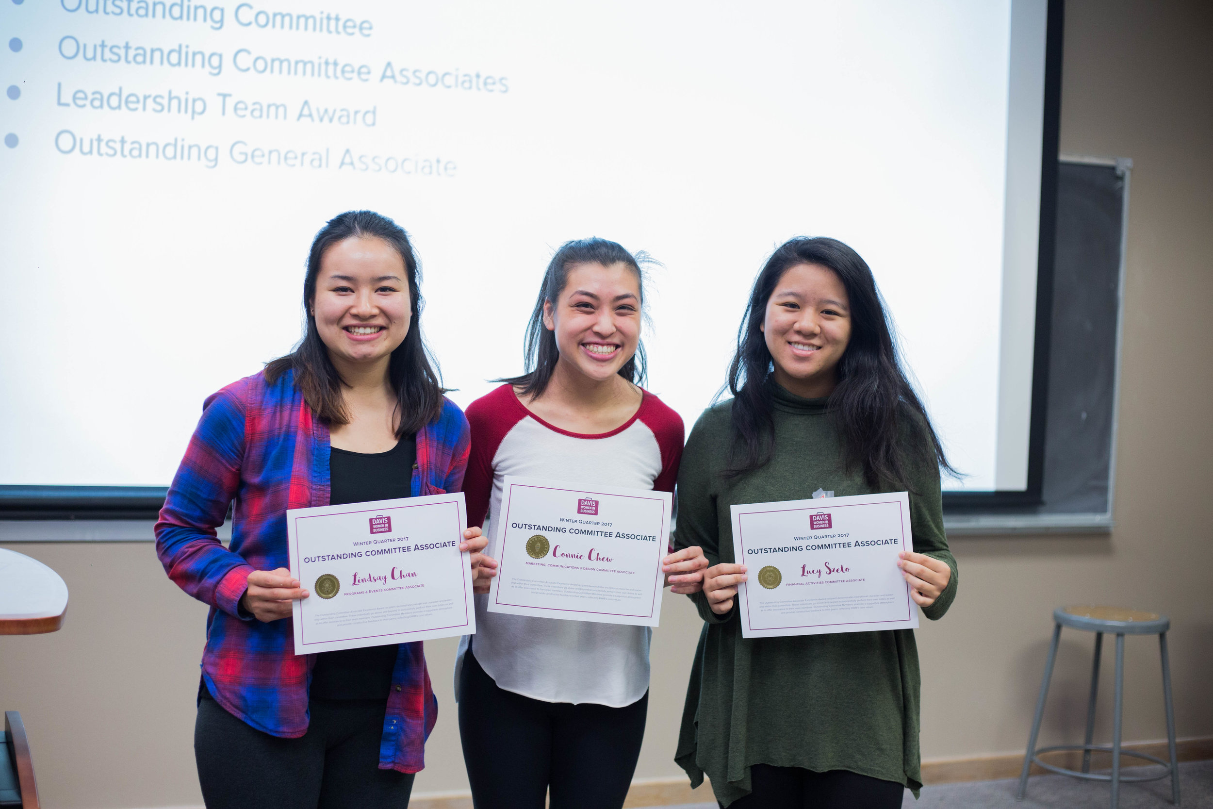 Lindsay, Connie, and Lucy, recipients of Winter Outstanding Committee Associate