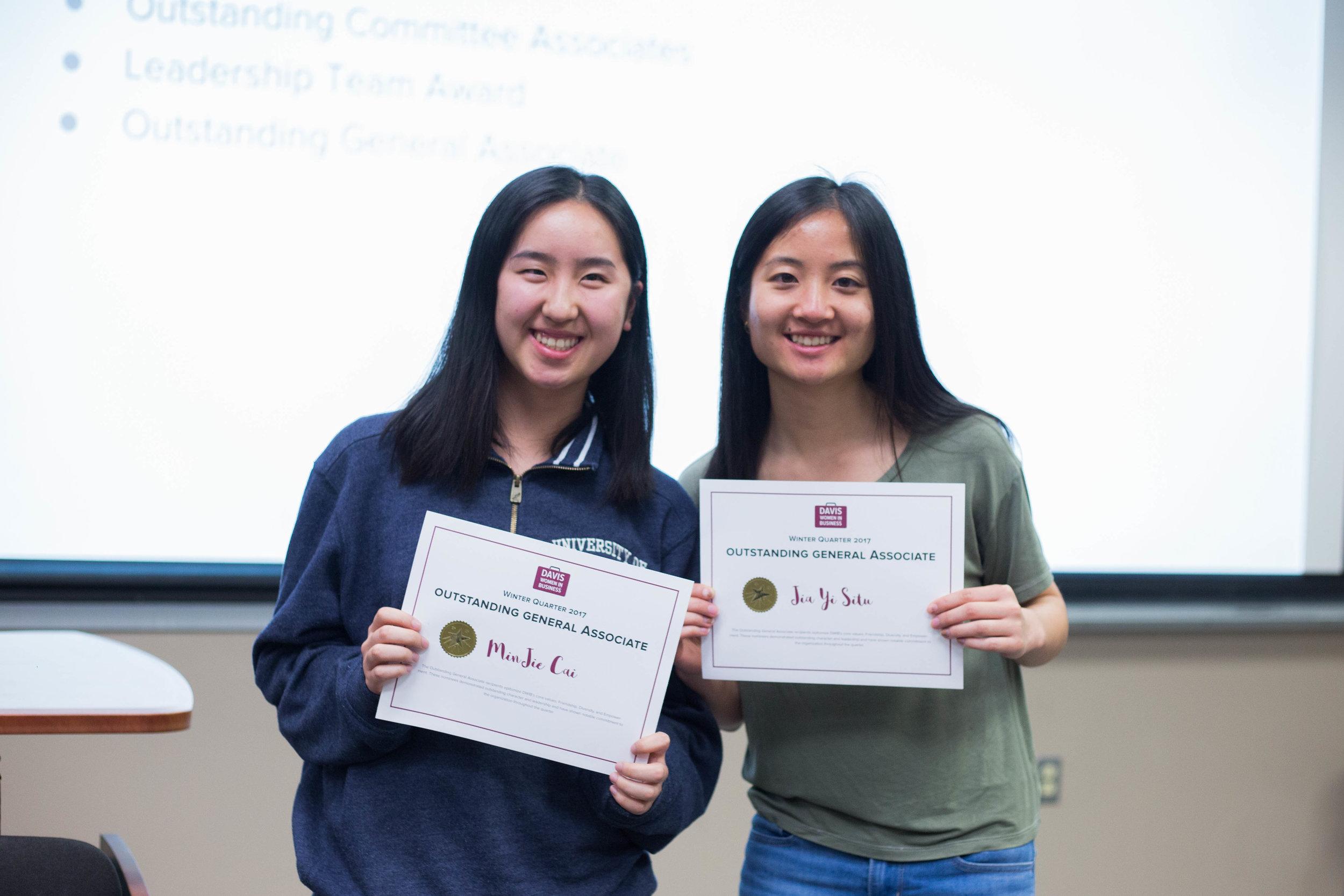 MinJie and Jia Yi, recipients of Winter Outstanding General Associate