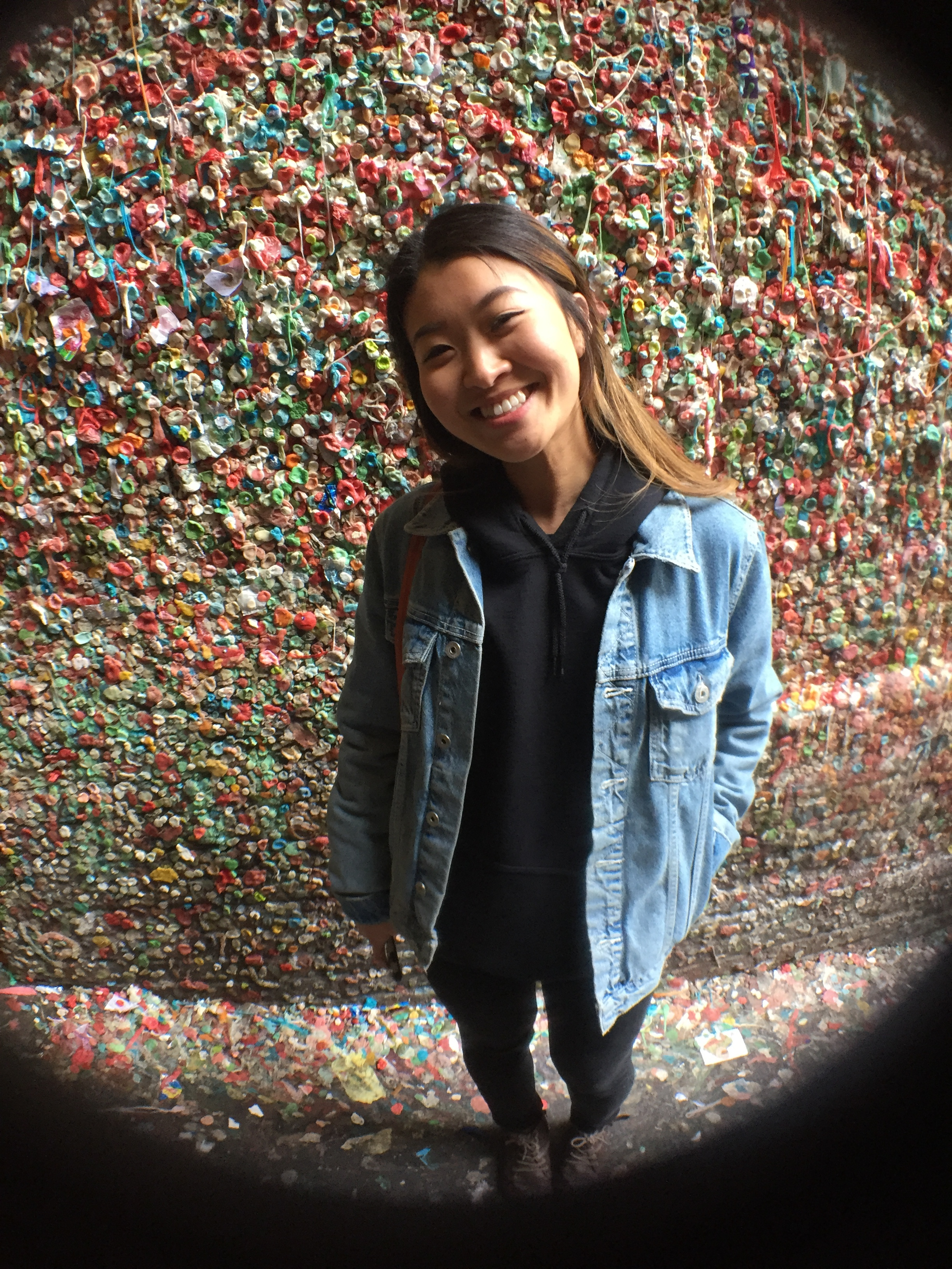 """""""Gum Wall"""" - I call this one, I am smiling on the outside but freaking out on the inside being this close to all this gum."""