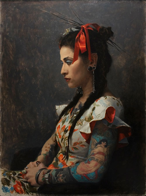 "Chantal in Profile- oil on panel  20x16"" 2006"