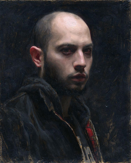 "Self Portrait- oil on paper 10x8"" 2011"