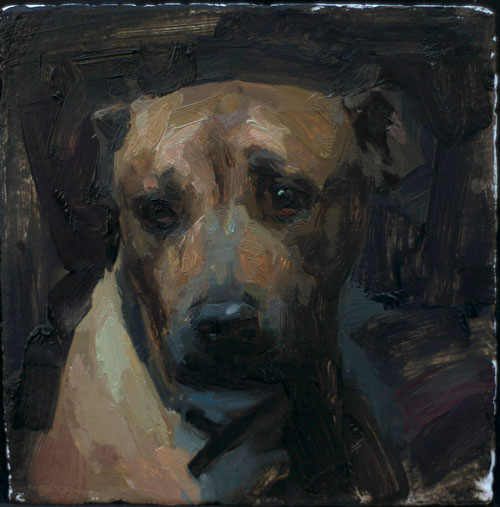 "Roscoe sketch- oil on paper 5x5"" 2011"