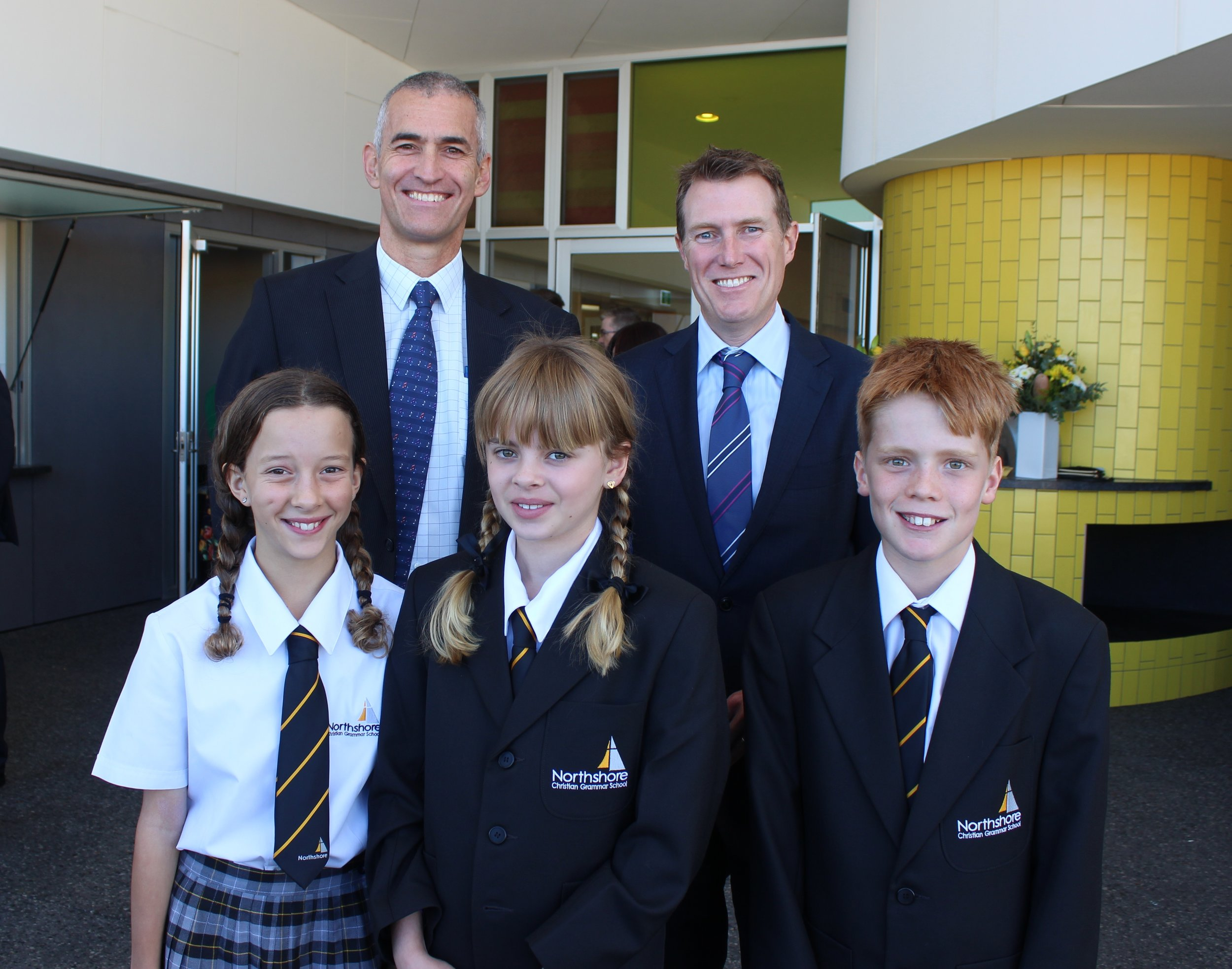 CEO Swan Christian Education Associate: Mr Neil David, MHR Christian Porter, MC Year 6 student: Dakota Pearce, Head Girl: Jessica Whitear, Head Boy: Kade Harvey
