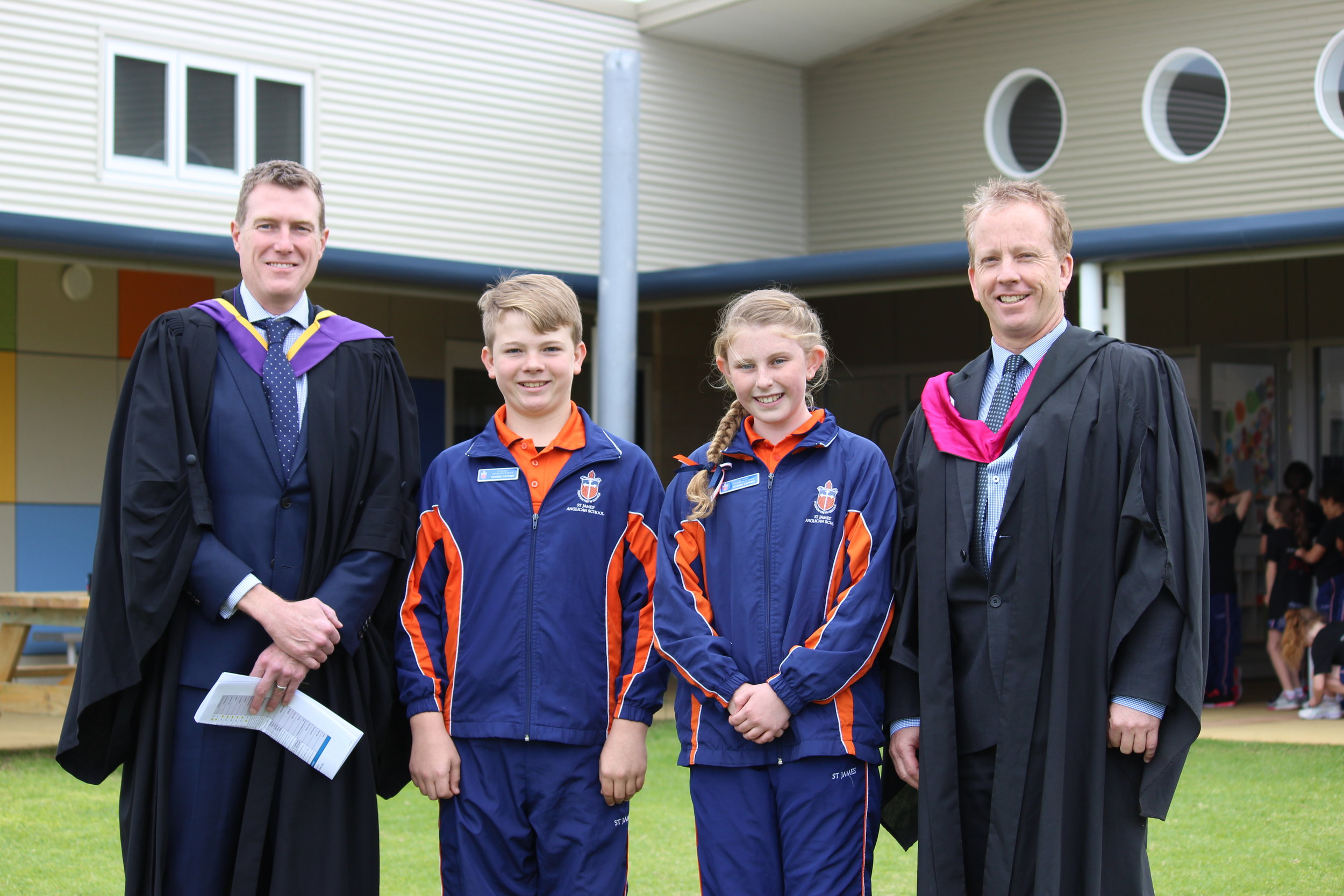 MHR Christian Porter, Isaac Faithful (School Captain), Bridget Leaman (School Captain) and Mr Adrian Pree, Principal of St James' Anglican School