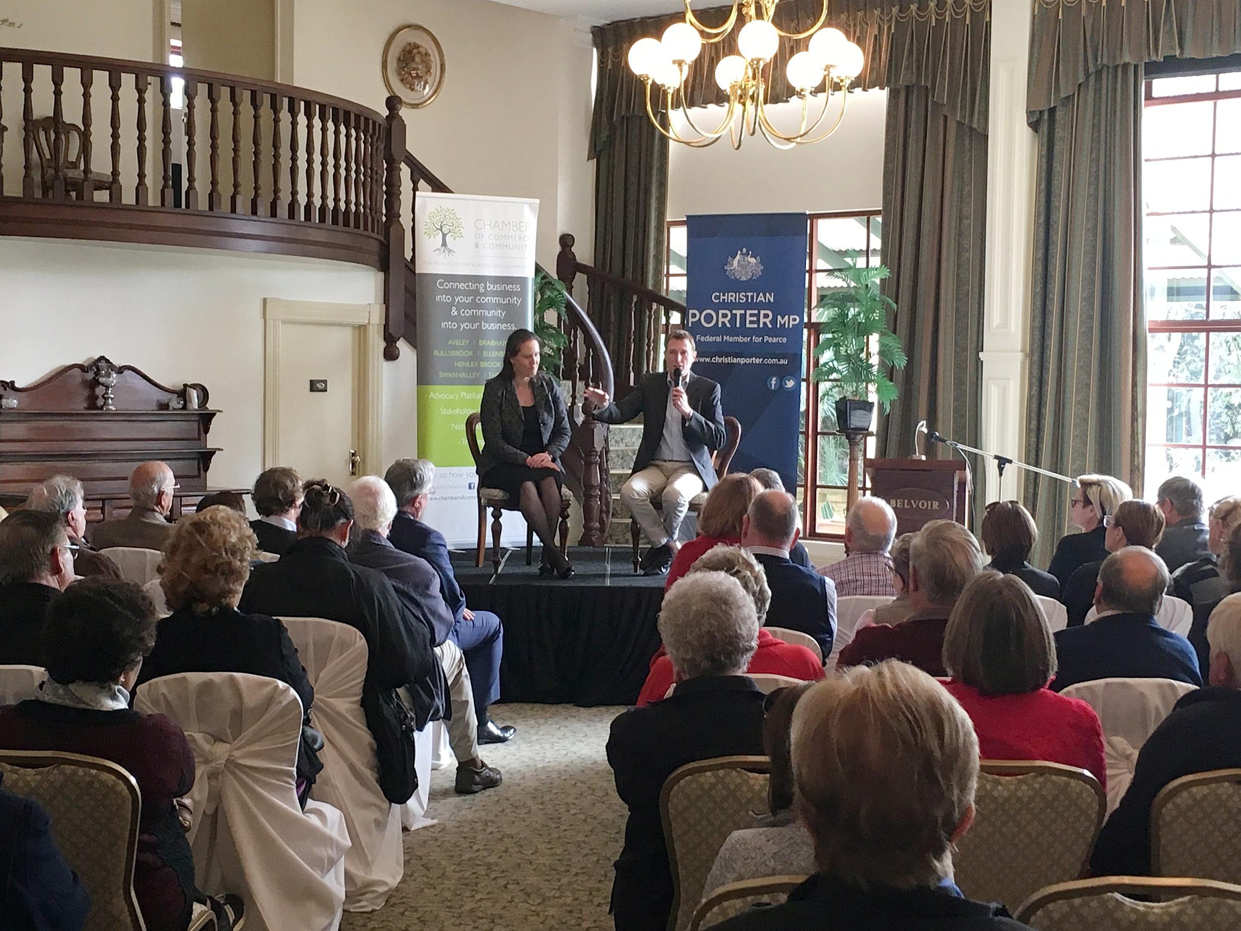 Christian Porter and Minister O'Dwyer Retiree Forum 2.JPG