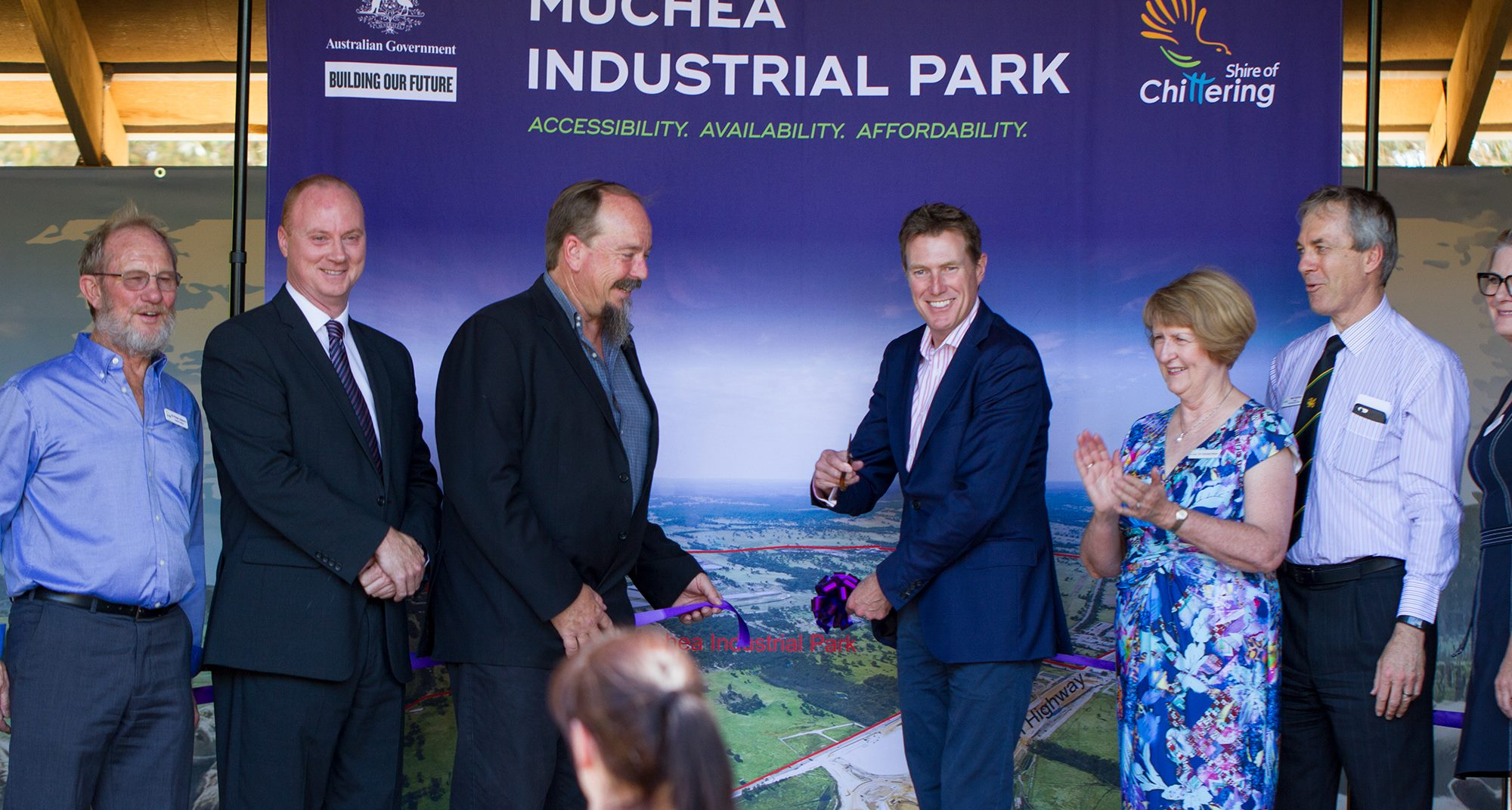 From left to right, Shire of Chittering Councillors: Deputy Shire President Cr Peter Osborn, Cr George Tilbury, Shire President Cr Gordon Houston, MHR Christian Porter, Cr Carmel Ross, Acting Chief Executive Officer Neil Hartley and Special Projects Manager Lisa Edwards at the Muchea Industrial Park Investment Prospectus Launch