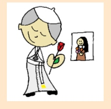 His favourite saint is   St Therese   (also known as the little Flower). Have you read her story on Kid's Cloister  ?