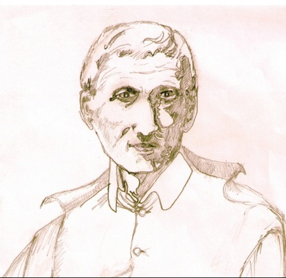The picture above is a study of Newman for a banner that was unfurled at the end of the service.