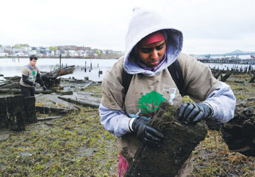 Daynaba Mohamed, 15, picks up a piece of broken wood from the shoreline of the Chelsea Creek on Marginal Street during the Chelsea GreenRoots Citywide Cleanup on April 22, Earth Day. The annual cleanup was focused on the Chelsea Creek this year, and was sponsored by the City of Chelsea and Chelsea GreenRoots.