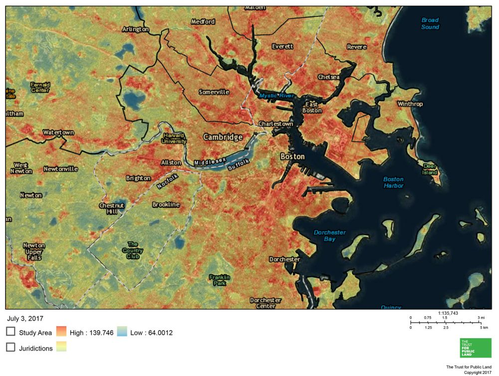 This map of Greater Boston shows land surface temperatures on July 7, 2015. The redder areas are warmest. The map was created on July 3, 2017. (Courtesy of The Trust For Public Land mapping tool)