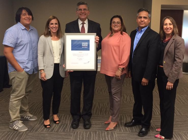 Accepting the Culture of Health prize at the Robert Wood Johnson Foundation headquarters in Princeton, NJ, are Jose Iraheta, Leslie Aldrich, City Manager Tom Ambrosino, Sylvia Ramirez, Dan Cortez and Roseann Bongiovanni.