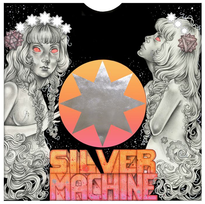 """Record Sleeve Designs for  """"Silver Machine // 7 By 7″  by Hawkwind      Pencil, pen, highlighter, ink, promarkers // October 2016"""
