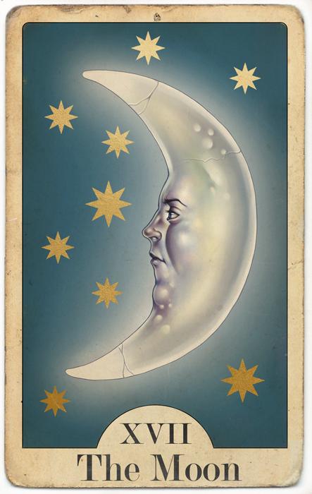 """The Moon"",  Tarot Card  Digital Painting // March 2017"