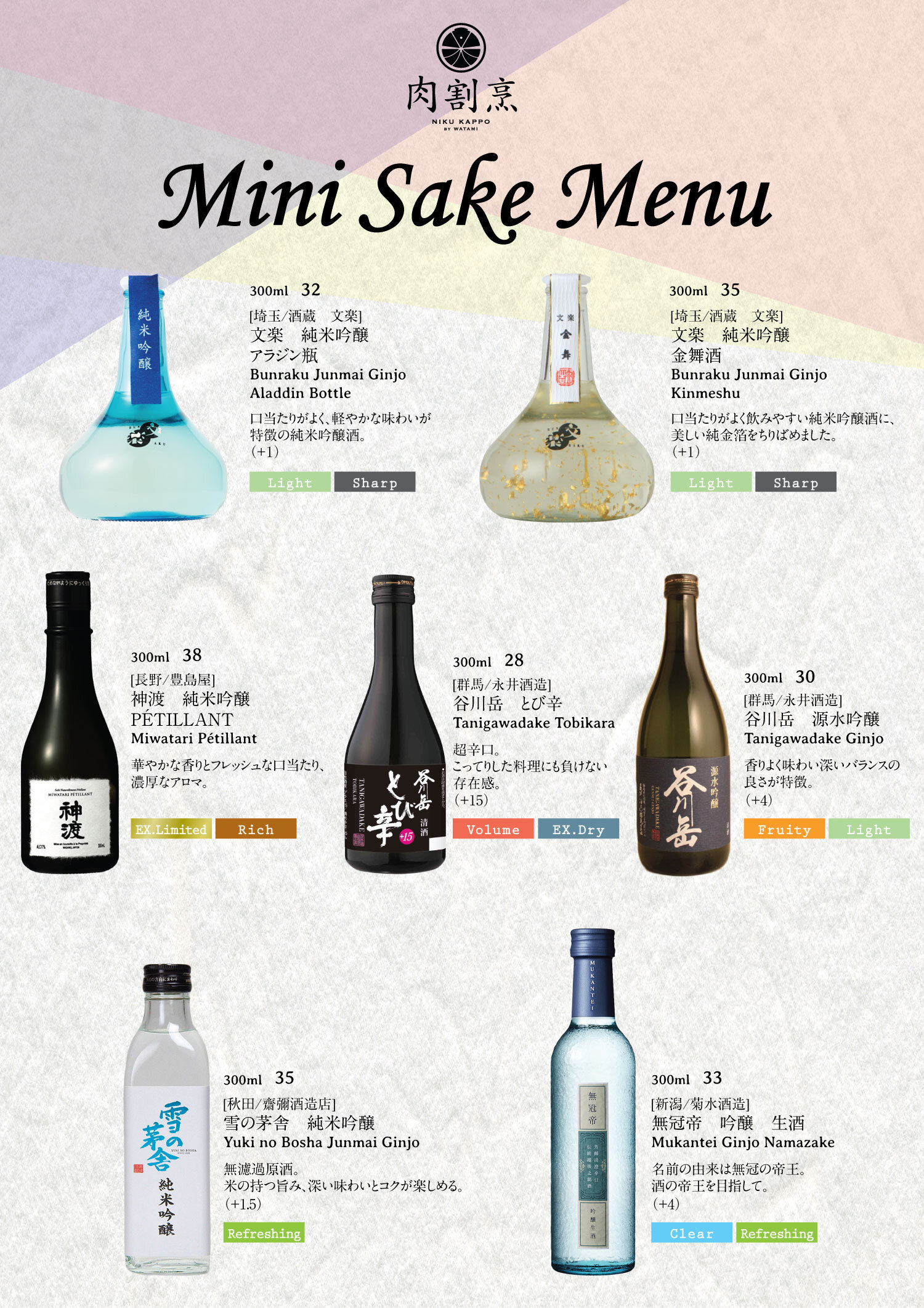 Sake Menu Niku Kappo