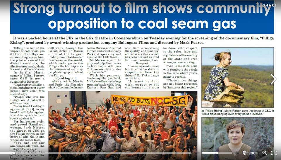3rd March, 2019  STRONG TURNOUT TO FILM  Article on page 3 of the  Coonabarabran Times  about the capacity crowd screening of 'Pilliga Rising.'    READ FULL ARTICLE HERE