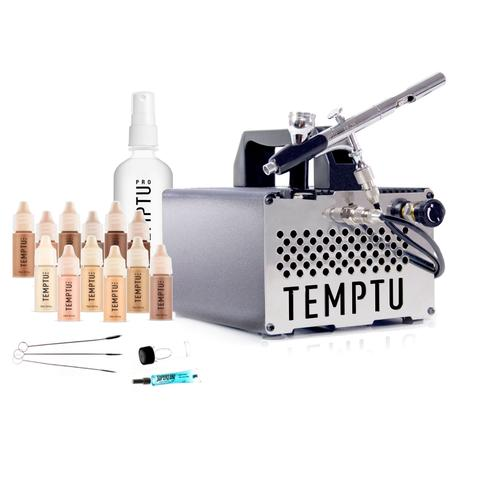 Temptu S-One Starter Kit ($325) For the artist that needs power and precision to perform, with a wide breadth of foundation shades for all skin tones. Temptu S-One Premier Kit includes: S-One Compressor, SP-35 Airbrush Gun, Airbrush Cleaning Kit, 12 pk S/B Foundation 1/4oz. Set, S/B Cleaner.