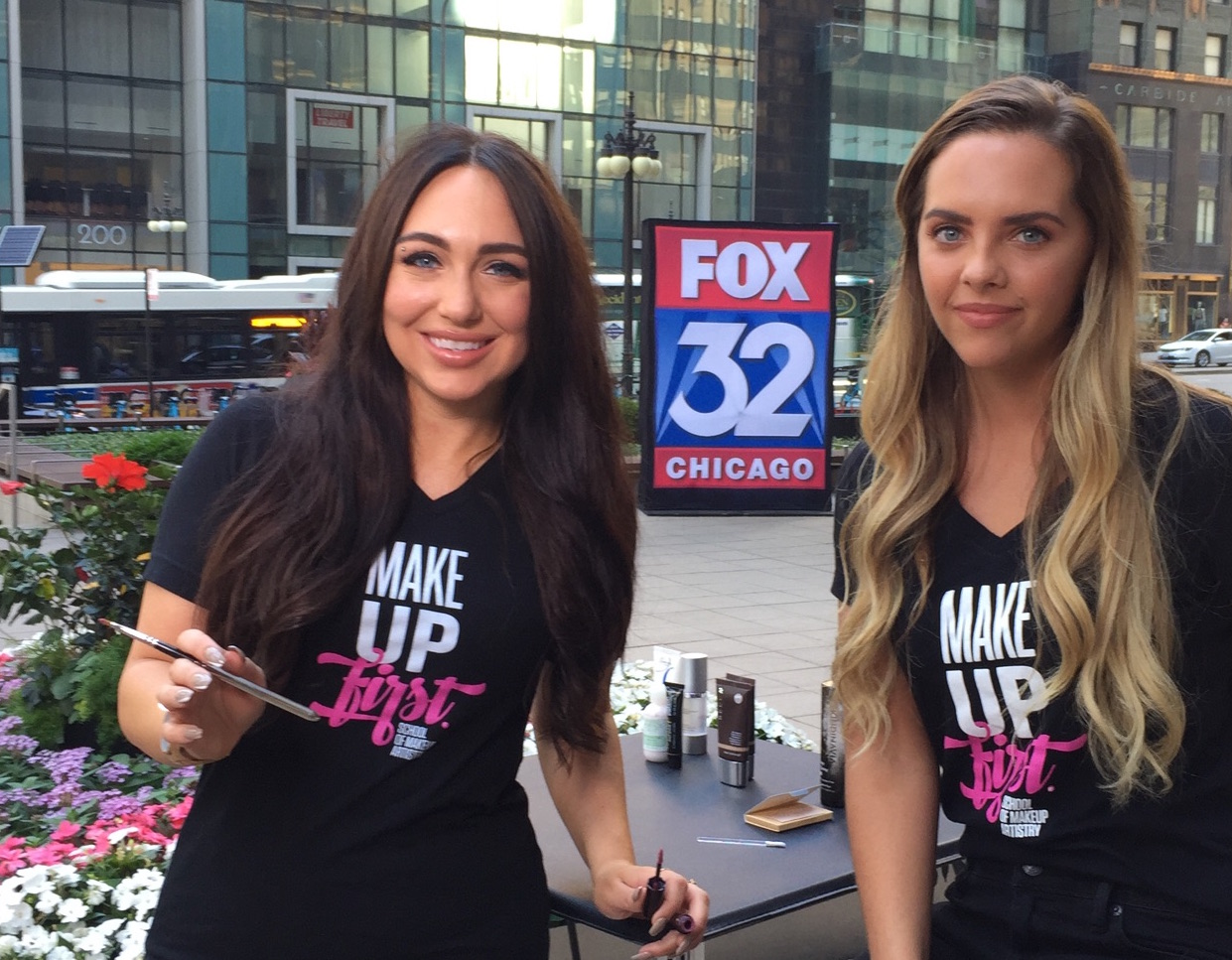 Instructor, Rachael Heimbuch (left), showcased our Summer Tips on MUF® Grad,  Aviana Wyall (right) this morning on FOX 32 Chicago!