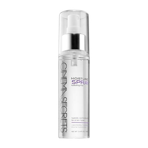Cinema Secrets Moisture Spray - Made with the same top-quality ingredients found in heavy creams but applied via a fine, refreshing mist, Cinema Secrets Moisture rejuvenates skin. The moisturizing formula contains NAPCA, elastin, collagen, and sodium hyaluronate in a pure iodized water base.*Pro Tip:Spray absorbs excess powder for a natural-looking finish