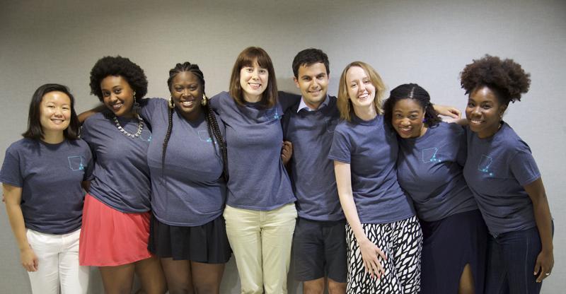 From Left to right: Valerie Soon (Duke), Ahnna Beruk (Duke), Porshé Garner (University of Illinois, Urbana-Champaign), Monica Hershberger (Harvard), Isaac Weitzhandler (Duke), Rachel Combs-Gonzalez (Harvard), Naima Green (Harvard), and Pam Walker (Rutgers)