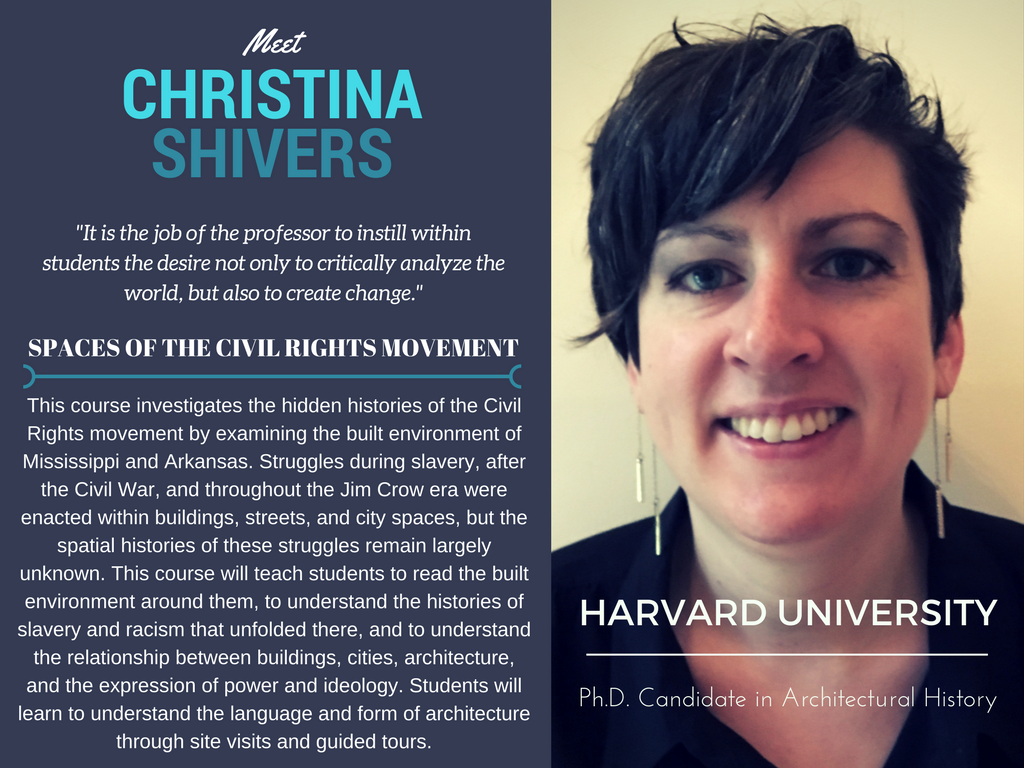 """Spaces of the Civil Rights Movement""   Christina Shivers,  Harvard University"