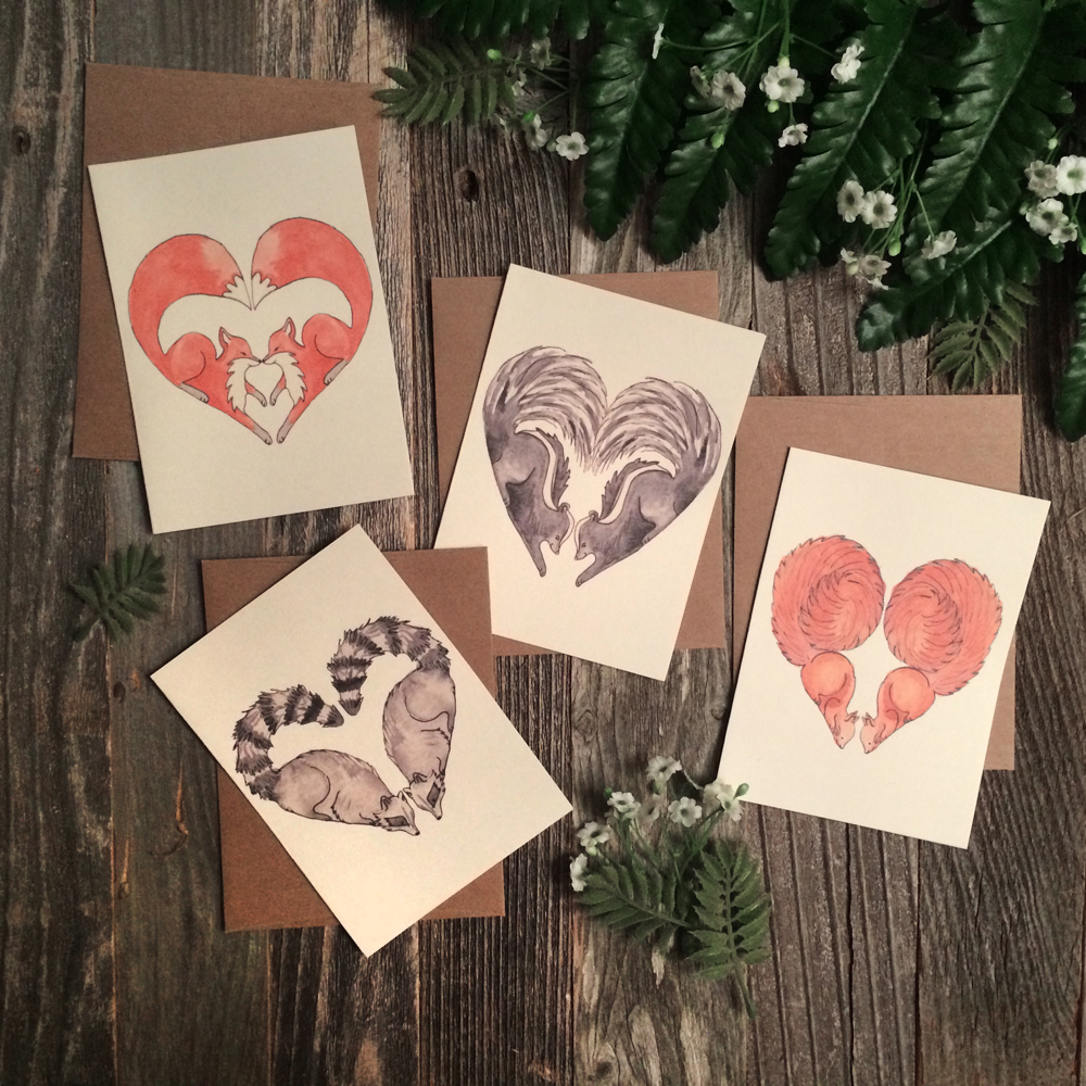 Woodland Hearts hand-painted greeting cards.
