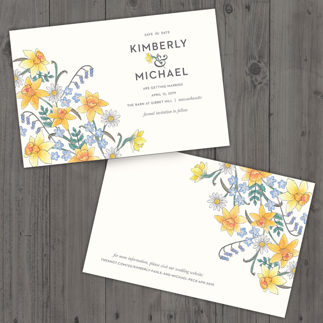 Save the Date featuring hand-painted flowers.