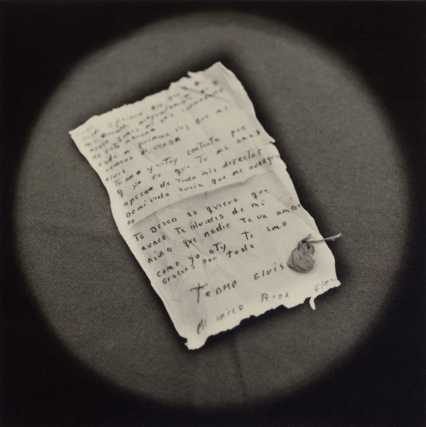 The Lost Steps (Incriminating love letter written by prostitute to her lover)  Toned gelatin silver print. 16 x 16 in.