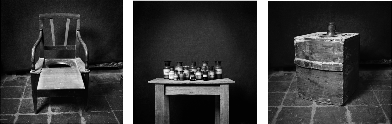 The End (Cyanide)  Archival charcoal pigment print on cotton paper. Triptych. 40 x 120 in.