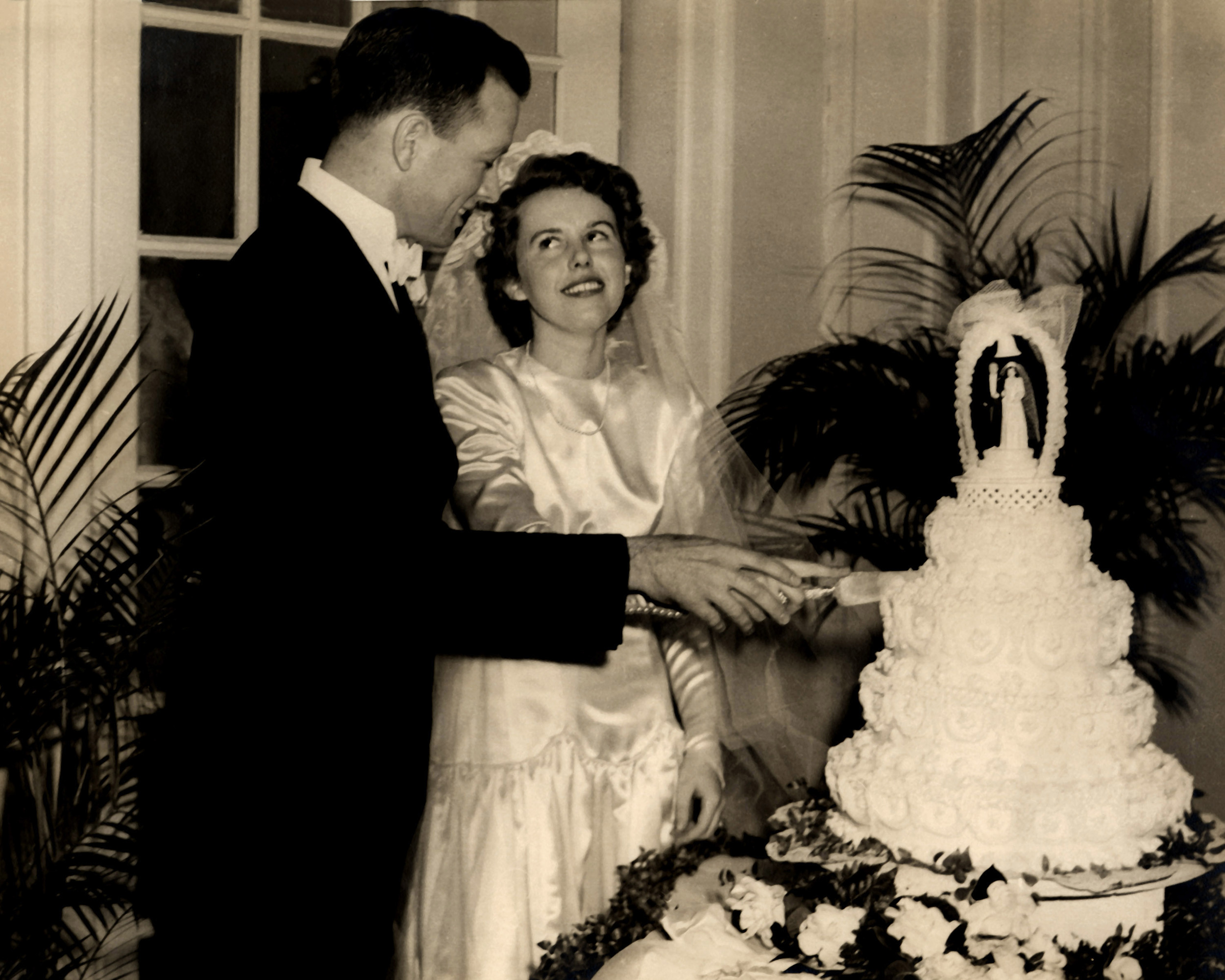 With wife Loise at their wedding reception, January 15, 1949, at the Francis Scott Key hotel in Frederick, Maryland.