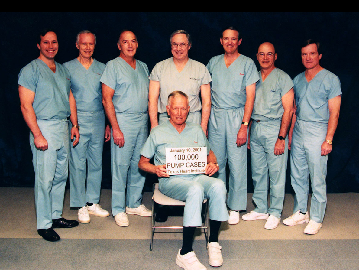 Reaching a major milestone with Cooley's associates the Texas Heart Institute: 1000,000 open heart operations, January 10, 2001. Standing left to right: Charles Hallman, Grady Hallman, George Reul, O.H. (Bud) Frazier, Jim Livesay, Mike Duncan and David Ott.