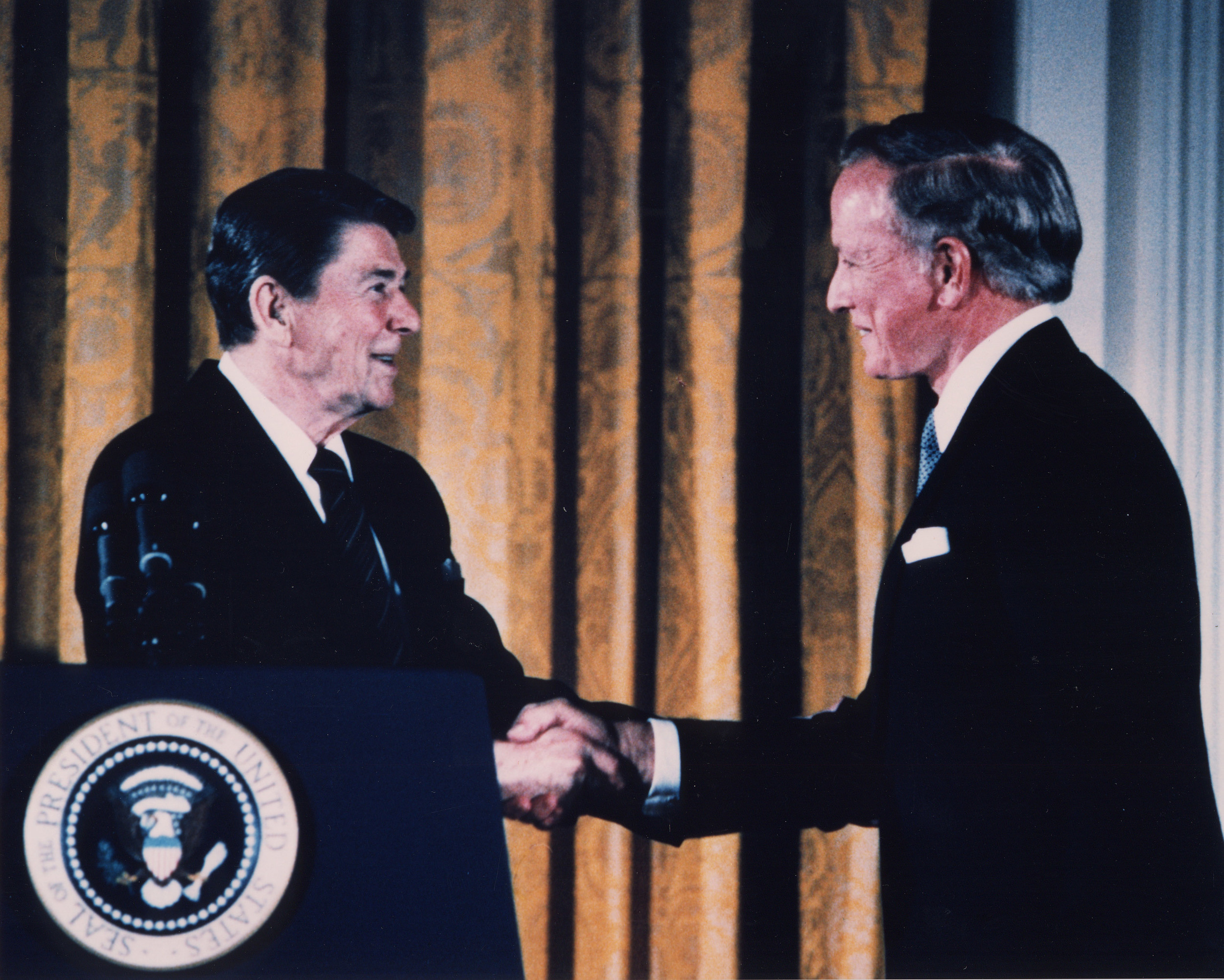 Dr. Cooley receiving the Presidential Medal of Freedom from President Ronald Reagan in 1984.