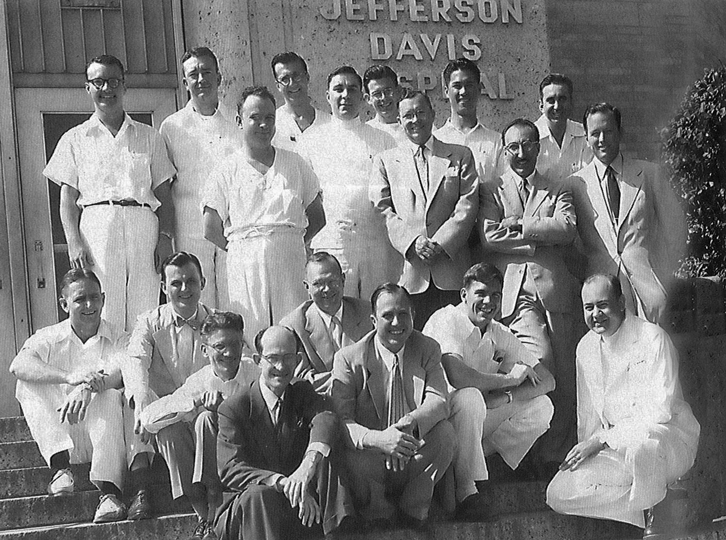 The Jefferson Davis Hospital house staff (residents and interns) and medical staff. Cooley is standing next to Mike DeBakey (end of second row, right).