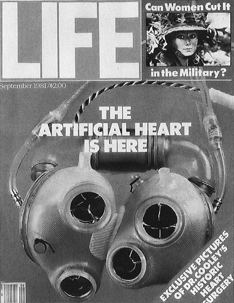 Life  cover from September 1981. The magazine story described the implantation of the world's second total artificial heart implant in a human.