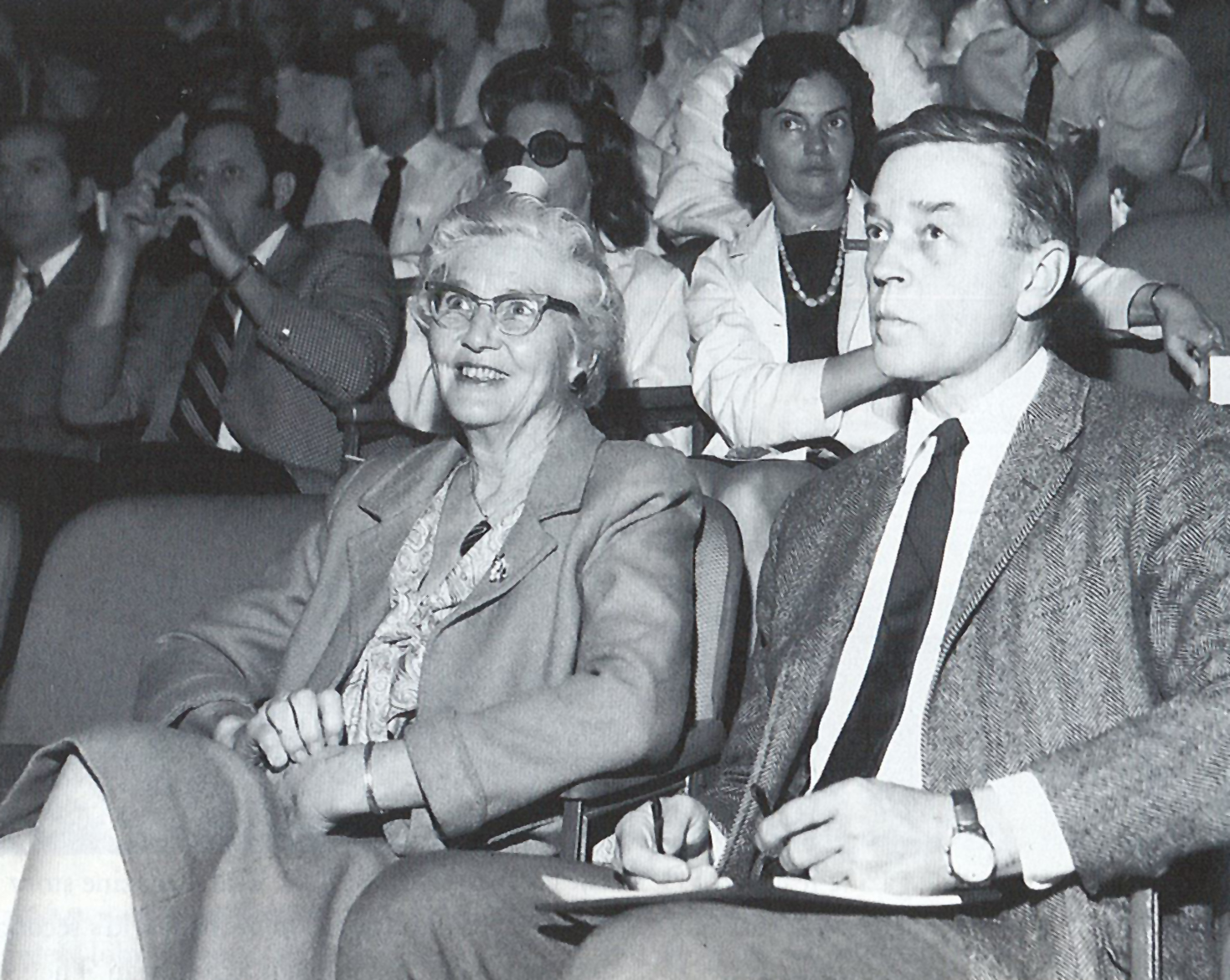 Dr. Helen Taussig and Dr. Dan McNamara at the Texas Heart Institute in March 1970. Dr. Taussig was attending a conference at THI.