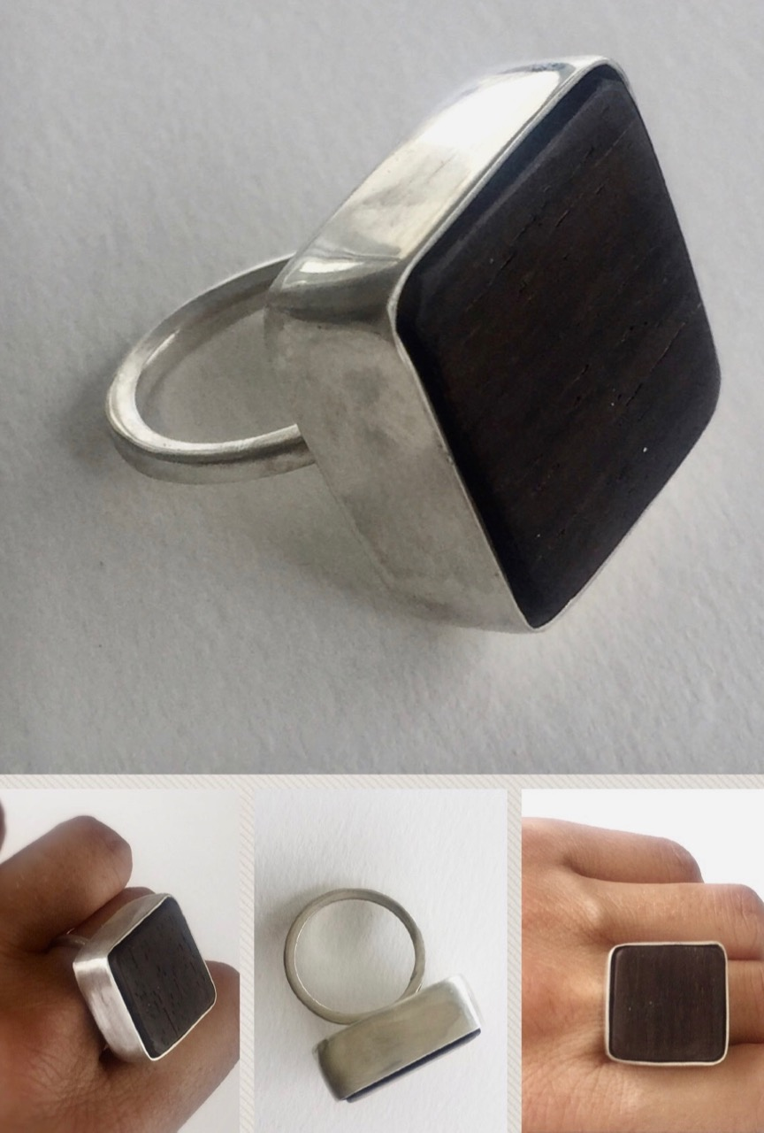 Raw wood and Silver Ring