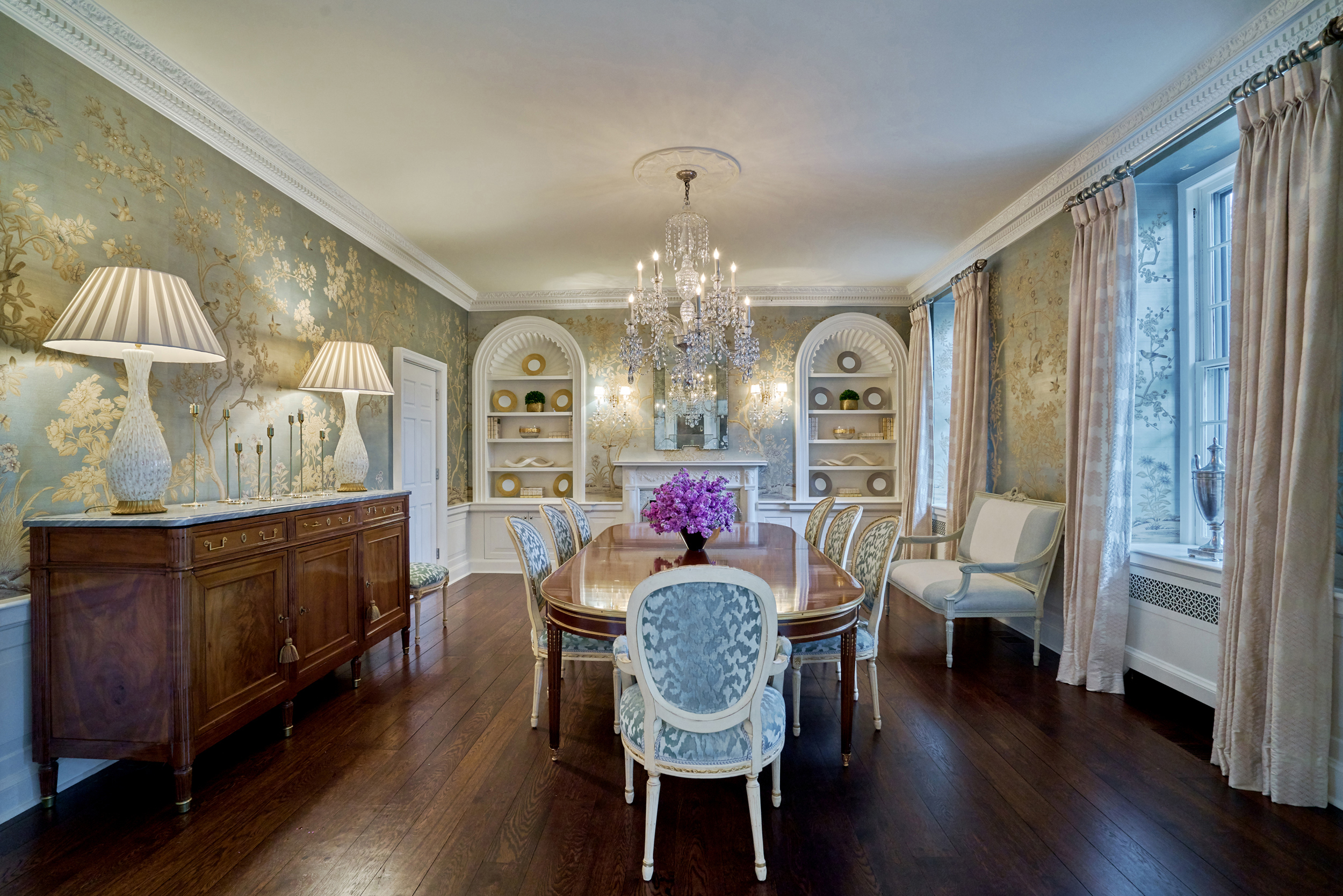 Gracie wallpaper merges with classical architecture.
