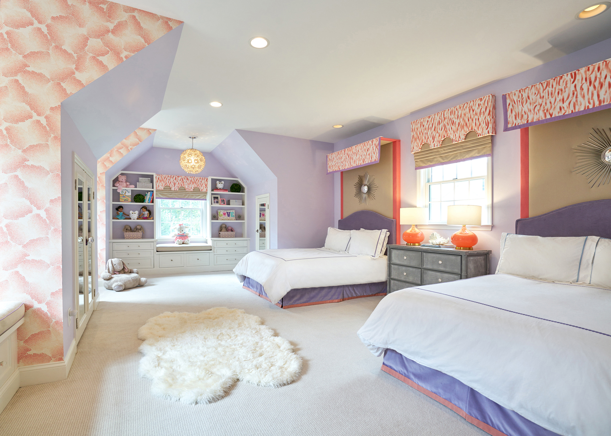 Wallpaper highlights the architecture of this youthful bedroom.