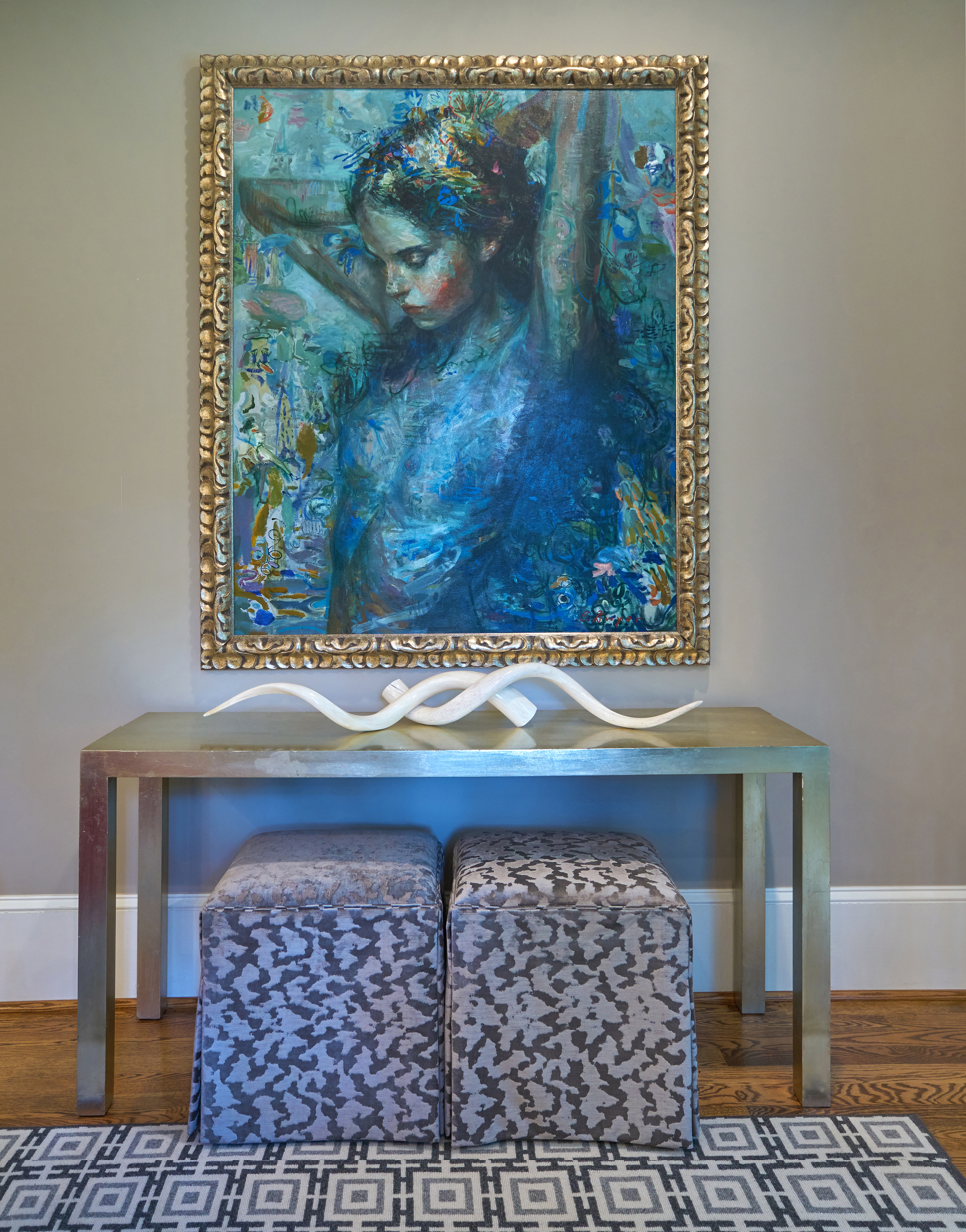 Beautiful art and vintage console exemplify perfection.