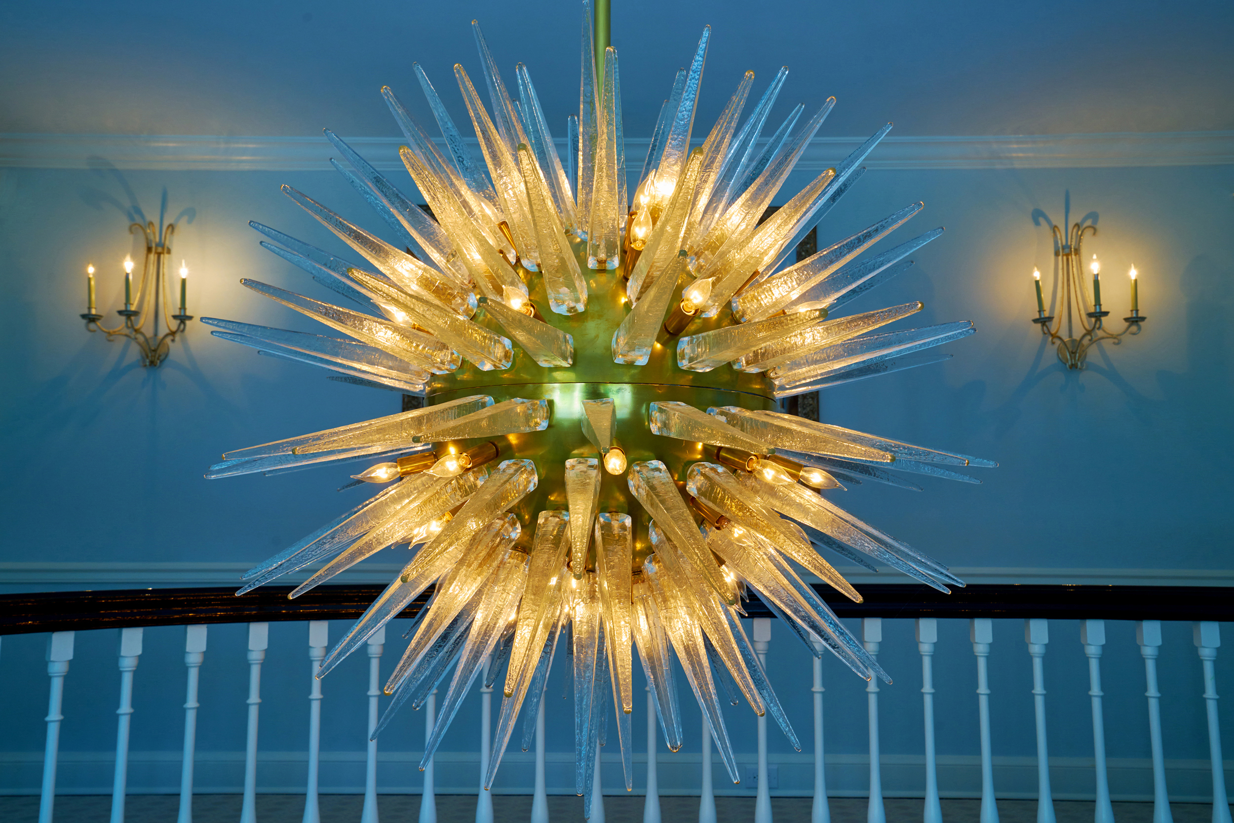 Stunning foyer light fixture sets the tone for a Bryn Mawr estate.