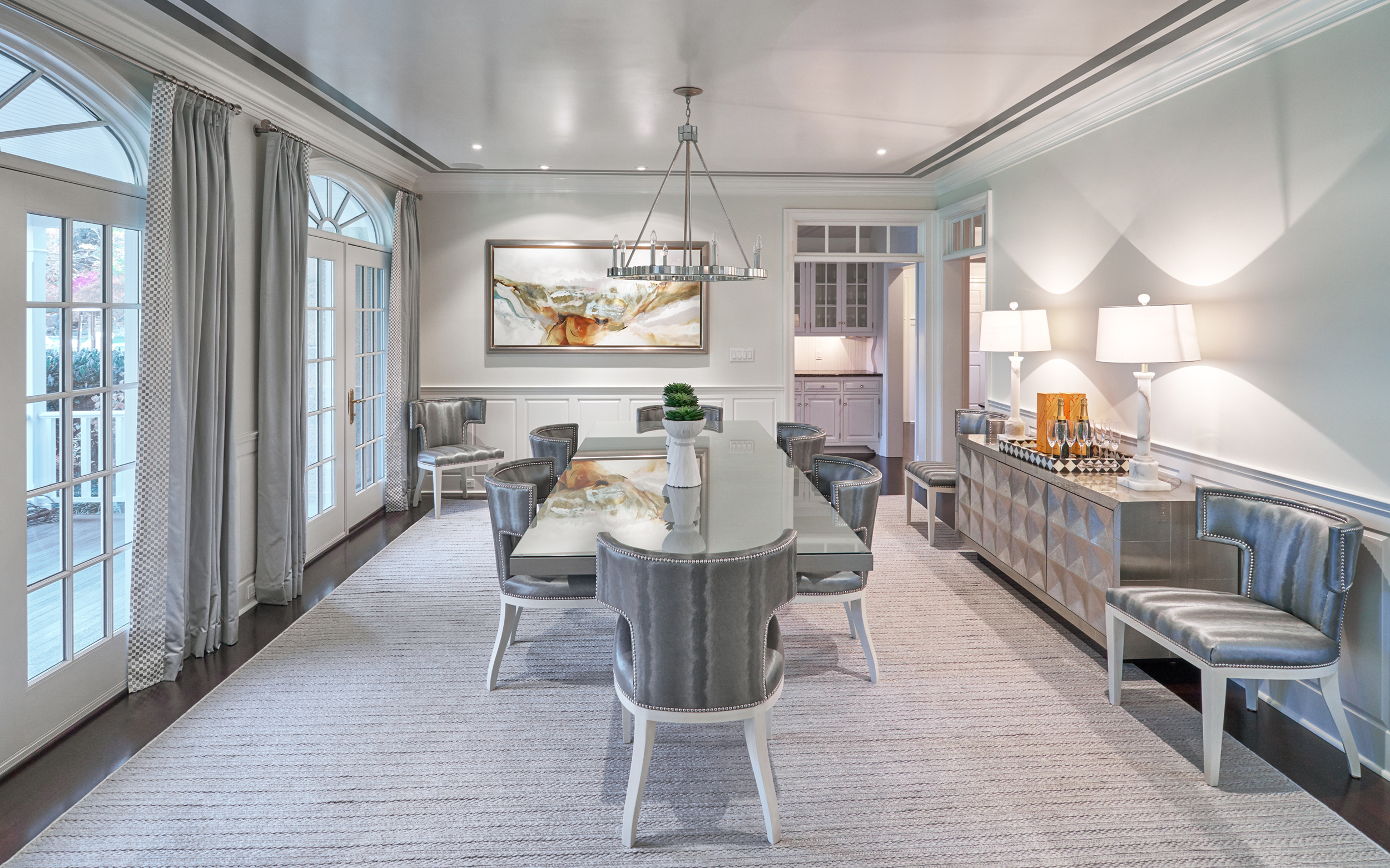 Grey and cream dining room