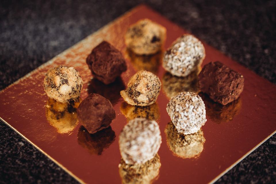 Délices' homemade cocoa truffles...