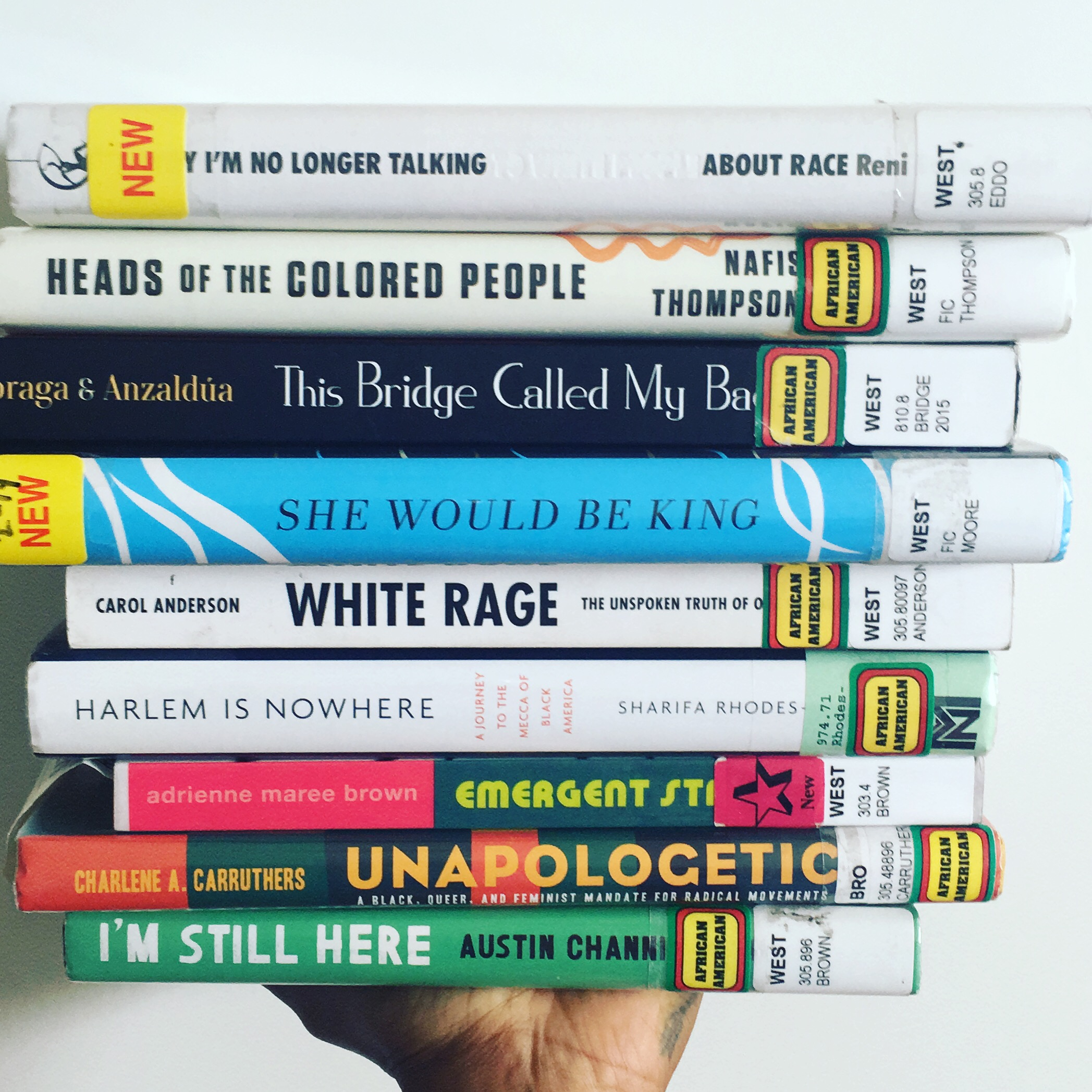 """""""Heads of Colored People"""" and """"Bridge Called My Back"""" traveled into the second stack because of the delish morsels of essays, poems, and short stories that I wanted to savor."""