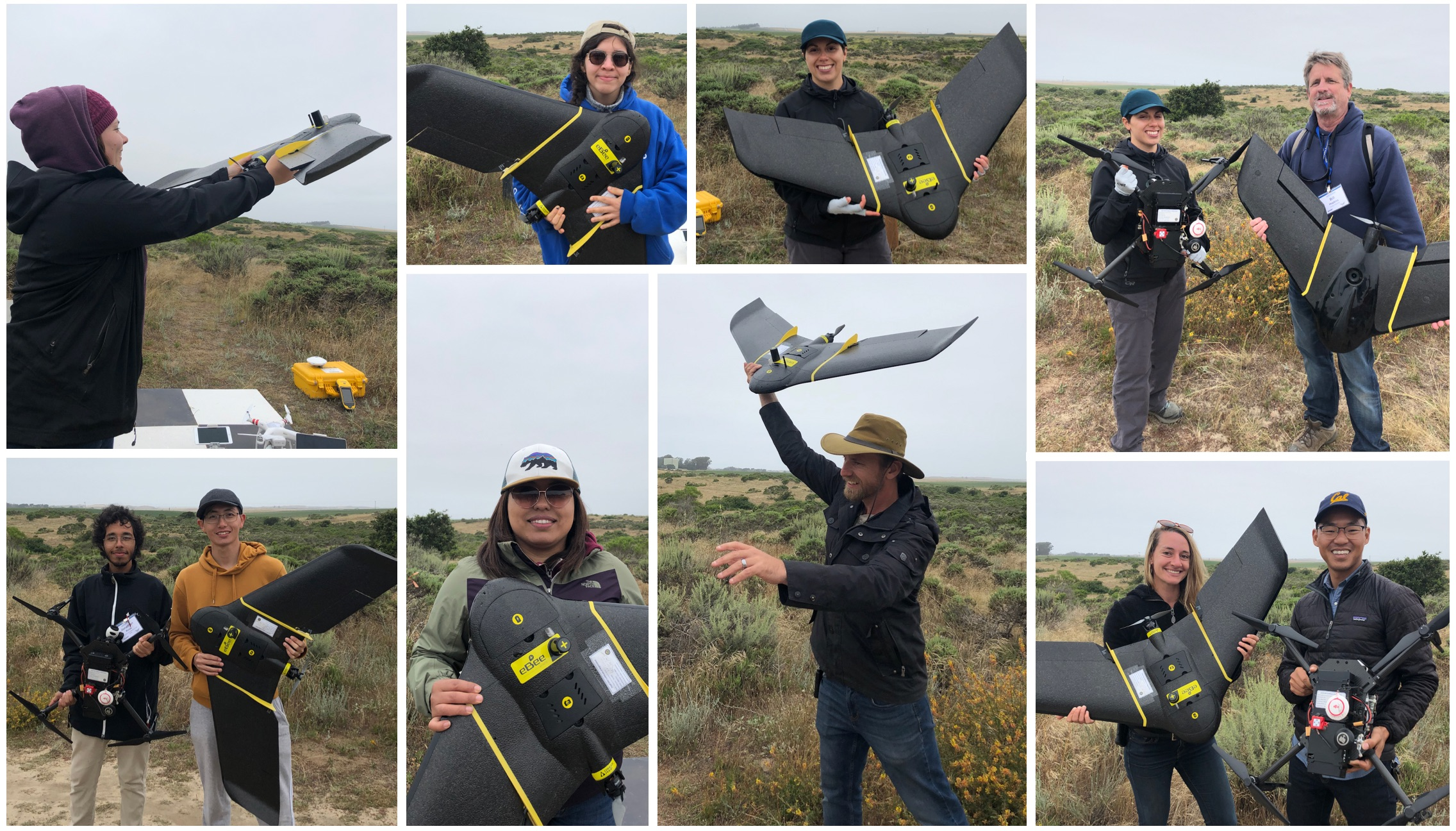 campers posing with uavs.