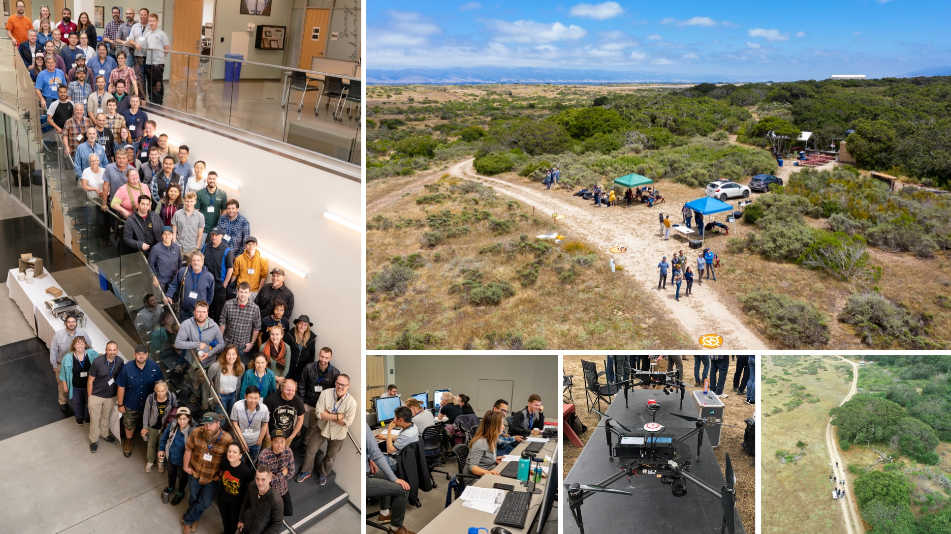 Clockwise from left: the group; Fort Ord Reserve; Fort Ord Reserve; the lovely matrice; data workshop.