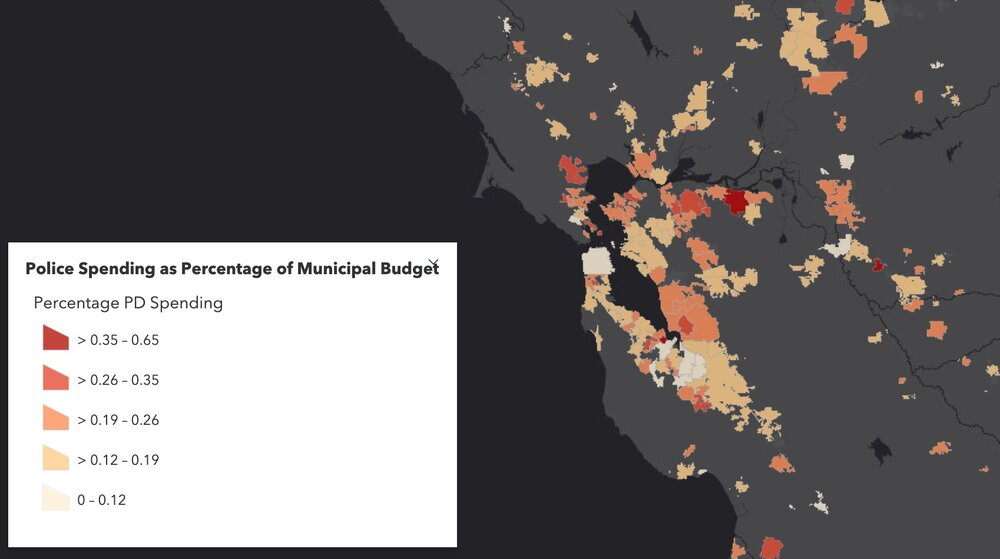 Figure showing variability in Police Spending (% of municipal budget) in Northern California in 2017. Data from California State Controller's Cities Finances Data, 2017 (City and police spending information). For more information see the Story Map  here .