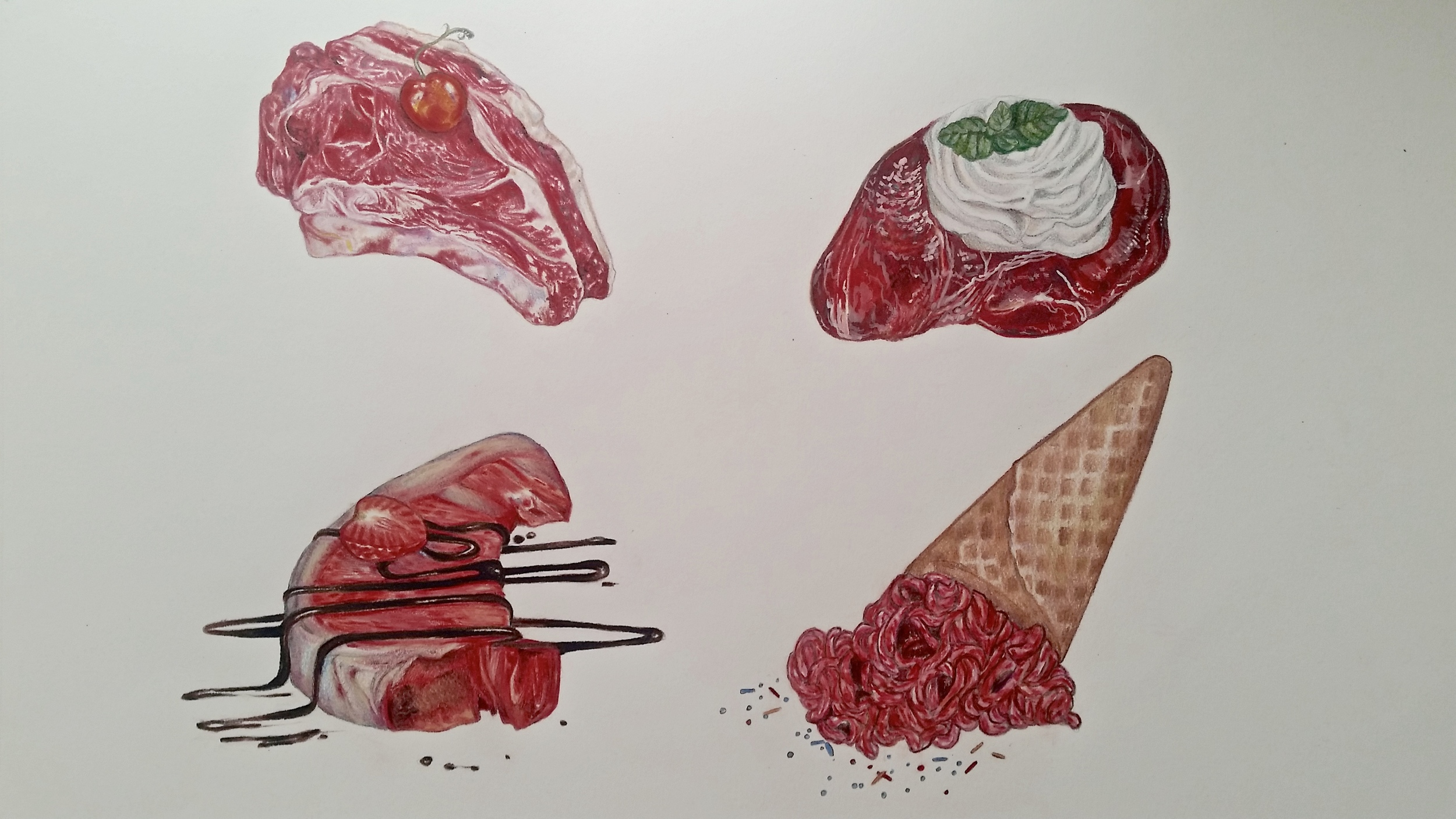 Sweet Meat,  colored pencil
