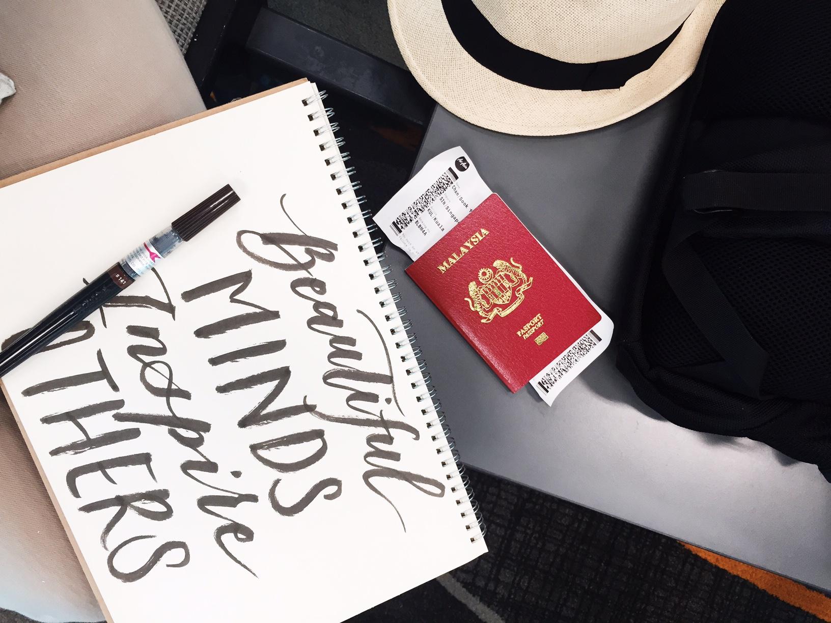 Preparing the drafts in airport