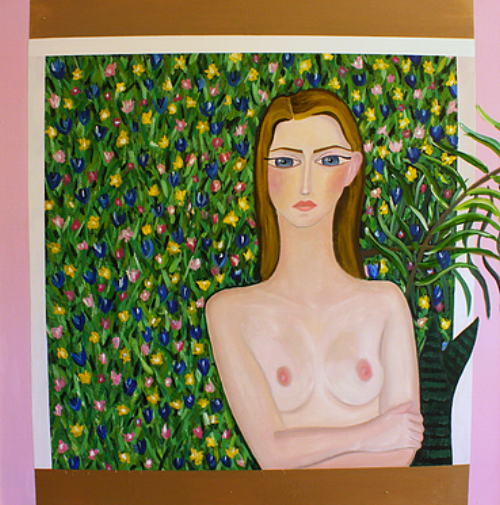 """Battle Of Flowers    (out of the series """"Brave and Fearful Women"""" 2015)  Oil and acrylic on canvas  120x120cm"""